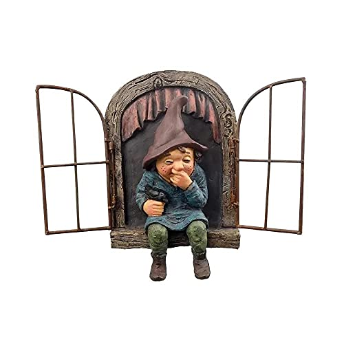 PLZL Creative Character Figurines Mischievous Garden Gnome Voyeur, Funny Lovely Garden Tree Decoration Statue Home Decoration Gifts