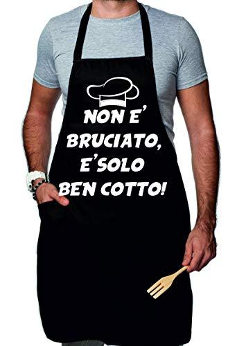 t-shirteria Grembiule da Cucina Divertente Non è Bruciato, è Solo Ben Cotto! - Idea Regalo Divertente
