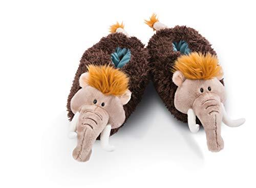 NICI 45322 Hausschuhe aus Plüsch Mammut Größe 38-41, kuschelig und warm, Stone Age Friends