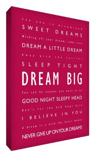 Feel Good Art Dream Big - Cuadro Decorativo (60,9 x 40,6 cm), diseño con Texto en inglés, Color Magenta y Blanco