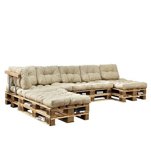 [en.casa] Cojines para sofá de palés 'europalés' - set - 4 cojines de asiento...