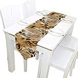 Bernice Winifred Doppelseitige Vintage-Ketten Tischläufer mit Leopardenmuster, Tischtuchläufer für die Hochzeitsfeier Holiday Kitchen Dining Home Everyday Decor-13x70