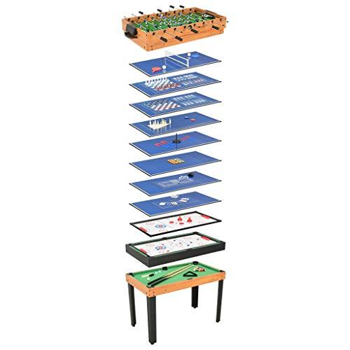 Festnight Mesa Multijuegos Mesa de Juegos Mesa multifunción 15 en 1 Color Arce Juegos Diferentes Futbolín, Ajedrez, Damas, Backgammon, Tenis de Mesa, Shuffle, Hockey de Aire, etc 121x61x82 cm