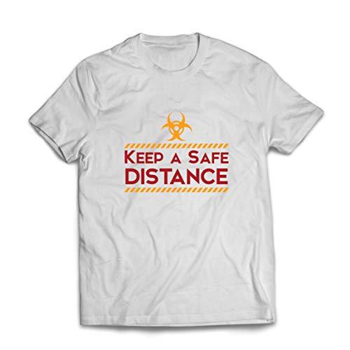 lepni.me Mannen T-shirt Houd een veilige afstand Blijf veilig Sociale afstands Slogan