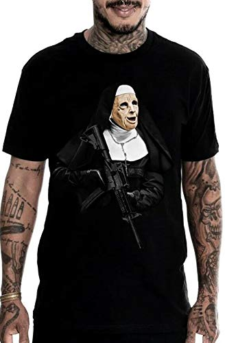 Mafioso Gunpoint Sister Nun Religious AK 47 Rifle Guns Tattoos Urban T Shirt