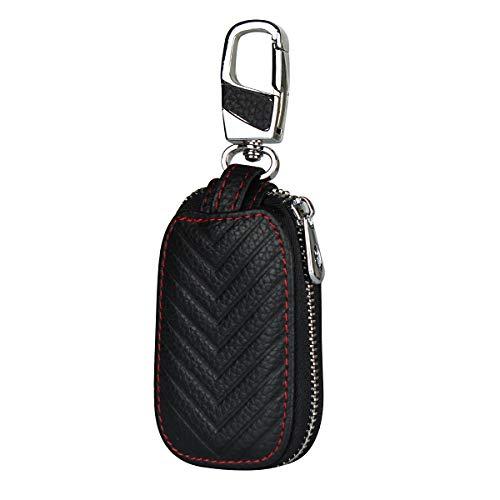 Copmob Multifunktions echtes Leder Schlüsseletui, Münztasche,Autoschlüssel Hülle,Haushalt Schlüsseltasche Hülle,Reißverschluss Schlüsselmäppchen für Damen Herren - A - Schwarz