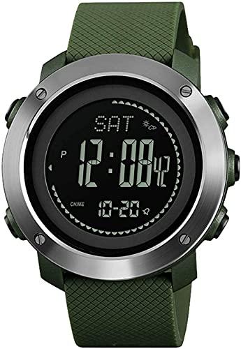 ABC Reloj para hombre, altímetro, barómetro, brújula, termómetro para deportes, impermeable, cronómetro, podómetros, para caminar, despertador, reloj de pulsera, moda, verde y verde
