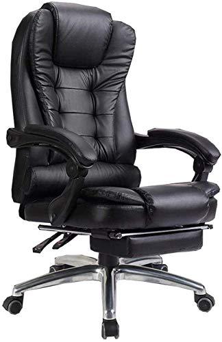 Silla de oficina para videojuegos, silla de ordenador reclinable, silla de escritorio con respaldo alto de 74 cm (color: negro)