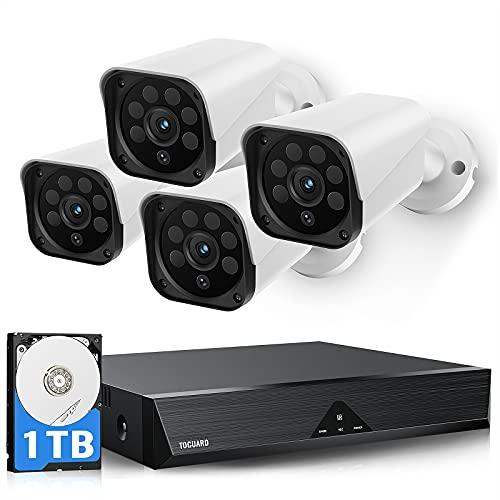 TOGUARD 1080P Kit Camaras de Vigilancia Exterior, 4X 1080P IP Cámaras 8CH 1TB HDD DVR Sistema de Cámara Vigilancia CCTV Kit con Visión Nocturna, Acceso Remoto, Grabación 24/7