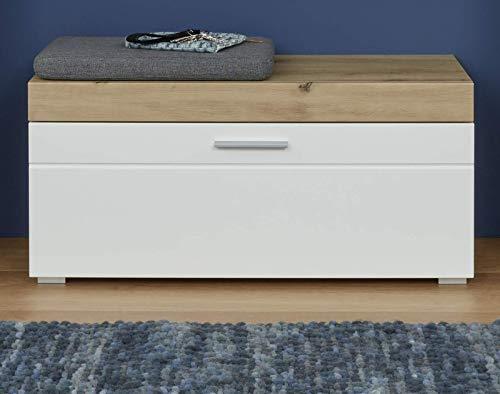 Trendteam smart living garderobe zitbank kast schoenenkast Ainzi, 91 x 42 x 38 cm front wit hoogglans, corpus en afzetting eiken met veel opbergruimte