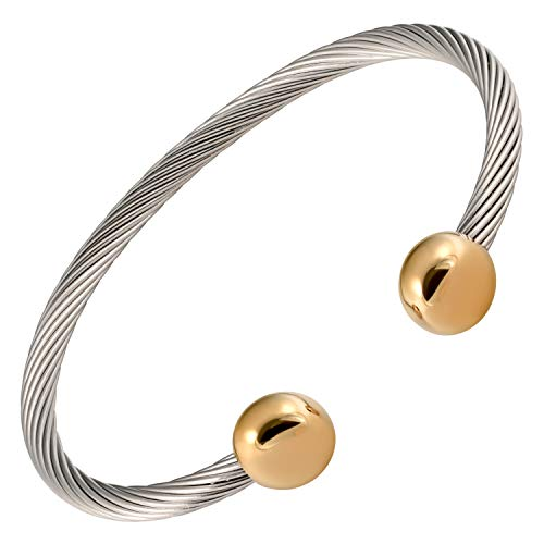 MAGNETJEWELRYSTORE 2-Tone Stainless Steel Magnetic Therapy Bracelet