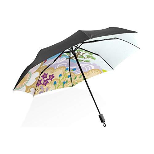 Paraguas Japón Patrón de Dibujos Animados 3 Pliegues Anti-UV a Prueba de Viento Ligero