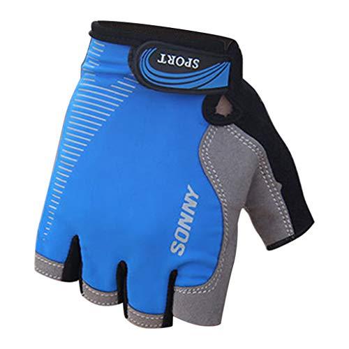 QIMANZ Fingerlose Fahrradhandschuhe mit Gel Mountainbike Handschuhe Halbfinger Männer Atmungsaktiv Trainingshandschuhe Rennrad Handschuhe Radhandschuhe Handschuhe für Damen Herren(B Blau)