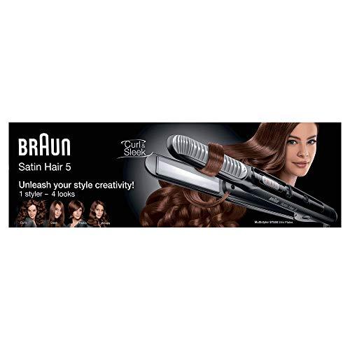 Braun Satin Hair 5-ST 550 - Plancha de pelo, 4 estilos, función de alisador y rizador, color negro