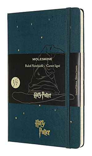 Moleskine - Harry Potter Limited Edition Notizbuch, Liniertes Notizbuch -Motiv: Der sprechende Hut - Hardcover mit Thematischen Abbildungen und ... Farbe Tide Grün, 240 Seiten (EDITION LIMITEE)