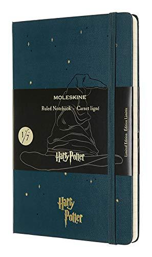Moleskine Harry Potter Taccuino Edizione Limitata, Notebook a Righe, Tema 1/7 Cappello Parlante, Copertina Rigida con Grafica e Dettagli a Tema, Formato Large 13 x 21 cm, Verde Marea, 240 Pagine