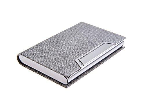 Quantum Abacus Tarjetero / Estuche para tarjetas de visita, de acero inoxidable y cuero PU, con cierre magnético, elegancia clásica de todos los tiempos, Mod. 704-02 (DE)