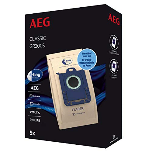 AEG GR200S s-Bag Classic Lot de 5 Sacs d'aspirateur pour Une Puissance d'aspiration élevée et Une Filtration optimale de qualité supérieure Marron
