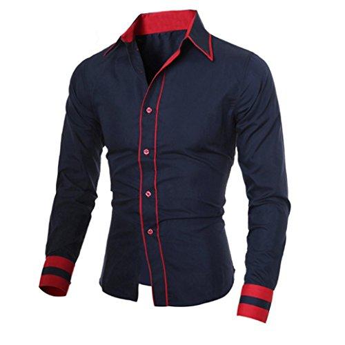 Herren Hemd,Sannysis Männer Casual Langarmshirt Top Bluse (XL, Marine)