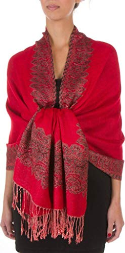 Red Elegant Reversible Paisley Border Pattern Pashmina Shawl Wrap Scarf Double Layer #WSAS