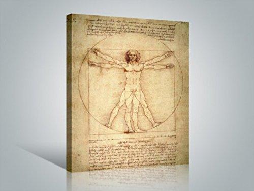 1art1 Leonardo Da Vinci - Vitruvianischer Mensch, Circa 1490 Bilder Leinwand-Bild Auf Keilrahmen | XXL-Wandbild Poster Kunstdruck Als Leinwandbild 80 x 60 cm