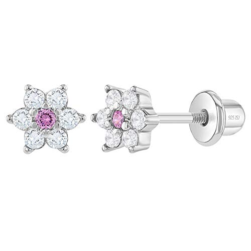 925 Sterling Silver 5mm CZ Pink & Clear Flower Screw Back Toddler Earrings Adorable Flower Earrings for Babies & Young Girls with Safety Lock