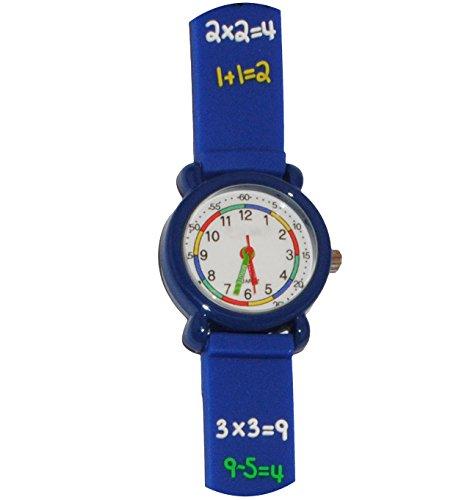 3-D Kinderuhr - Zahlen Rechnen / blau - Uhr Kinder Armbanduhr Silikon bunt Schule Mathe Mathematik Analog - Mädchen & Jungen - Uhrzeit lernen