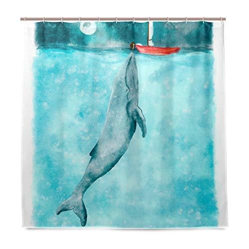 ISAOA Amainal Duschvorhang, Motiv: Meerwal, wasserdicht, schimmelresistent, antibakteriell, personalisiertes Design, Polyestergewebe, Vorhang für Badezimmer, 180 x 180 cm, mit 12 Haken