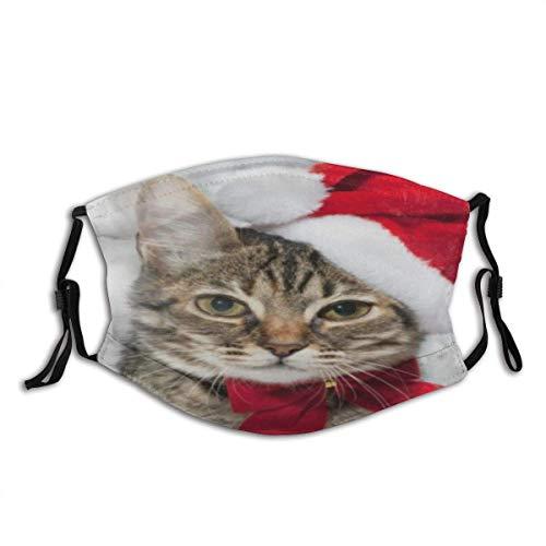 Weihnachtskatze, rot, Weihnachtsmütze, Frohe Weihnachten, Unisex, waschbar und wiederverwendbar, Baumwolle, warmer Gesichtsschutz für den Außenbereich