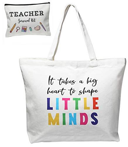 Teacher Appreciation Gifts for women Christmas Supplies Canvas Tote Makeup Bag Pencil Pouch Case