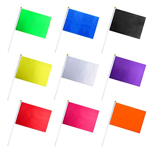 Consummate 45 Pack Solid Color Flag Small Mini Plain Black White Red Yellow Green Blue Purple Orange Rose Red Stick Flags Set