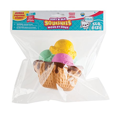 "ORB The Factory Mixed Ice Cream Cone Soft'n Slo Squishies, Yellow/Green/Pink/Brown, 10.83"" x 9.25'' x 3.50"""
