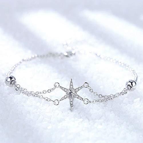 efsdhg Pulsera de plata de ley 925 para mujer, joyería de moda, cristal simple, retro, hueco, estrella de hombre, circonita, pulsera de joyería de mano (longitud: 20,5 cm)