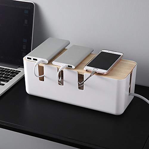 Caja Organizadora de Cables, Caja de almacenamiento de cables de alimentación de madera, Organizador de Textura de Madera, Caja Organizadora Cables Grande (30.3 x 12.4 x 11.6cm)