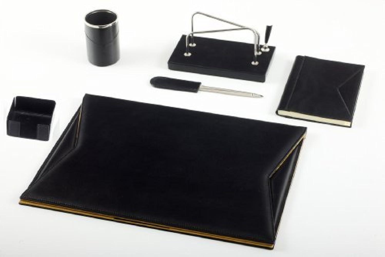 Italienisches Leder-Schreibtischset schwarz  Leder-Schreibtischzubehr – Maruse