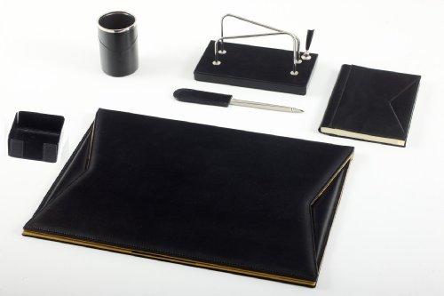 Maruse Set da Scrivania in Pelle Nero 6 pezzi Accessori da Ufficio - Made in Italy