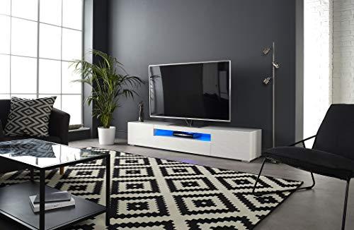 """MMT DAIQ2000 Meuble TV pour TV 4K 65/70/75/80"""" avec lumières LED 200 cm de Large Blanc"""