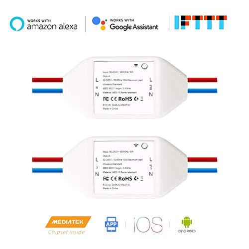 Module de commutation WiFi sans fil Smart Remote Control, module de bricolage universel pour solution domotique intelligente, compatible avec Amazon Alexa et Google Home Assistant, IFTTT, 2Pack