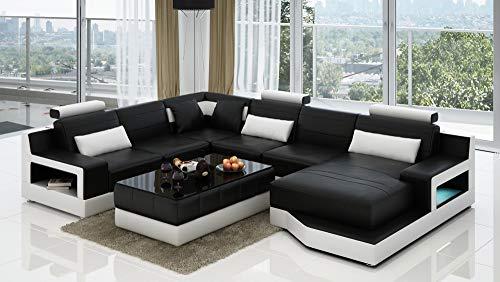 Its-Me Futuristisch Sofa Schlafsofa Wohnlandschaft | aus echtem Leder |mit LED Unterfloor Licht | L6005A Links, Schwarz/Weiss