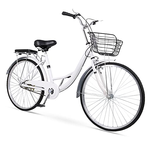 26 inch Cruiser Bike with Basket, Solid Tire Single Speed Classic Bicycle Beach Cruiser Bicycle for Women, Puncture Resistant Tire, No More Need...