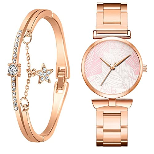 Bao Xiang Quartz Watch Stainless Steel Watch with Bracelet Leaf Pattern Decoration Pink Watch for Women