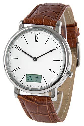 Funk-Armbanduhr, Metall, mit Datums- und Sekundenanzeige