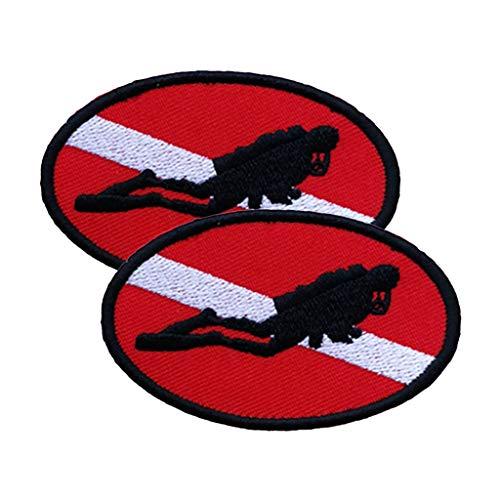 perfeclan 2 Unids Scuba Diver Abajo Patrón De La Bandera Parche Bordado Coser/Hierro En Parches - Vestido De Ropa Jeans De Costura Apliques De Bricolaje Manua