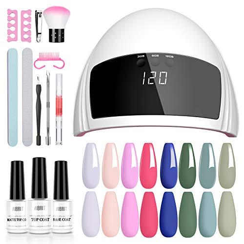 Aibrit Gel Nail Polish Kit with UV Light Nail Lamp- Gel Nail Polish Set with No Wipe Glossy/Matte Top and Base Coat, 8 Colors Soak Off Gel Polish Nail Art Manicure Nail Tools