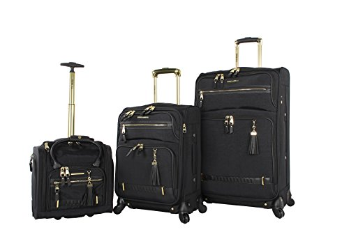 Steve Madden Luggage 3 Piece Softside Spinner Suitcase Set Collection (20'/28'/Under Seat Bag) (Peek-A-Boo Black)