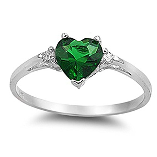 Oxford Diamond Co Simulated Emerald Heart & White Cubic Zirconia Ring Size 7