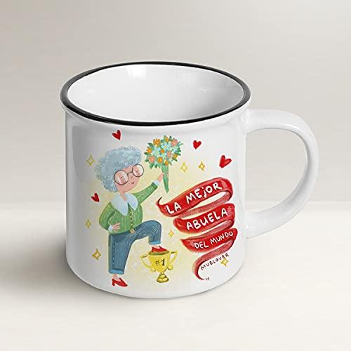 Mug Lover - La mejor Abuela del Mundo - (ESPAÑOL) - Idea regalo taza, tarjeta de felicitación con sobre y bolsita de organza