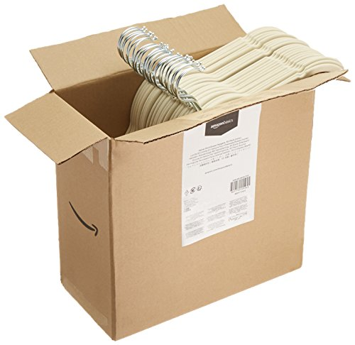 AmazonBasics - Perchas de terciopelo para camisas/vestidos - Paquete de 50, Marfil