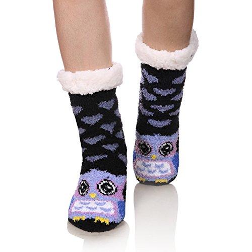 FNOVCO Womens Fuzzy Cozy Cute Cartoon Animal Non-Slip Winter Thermal Slipper Socks (Owl)