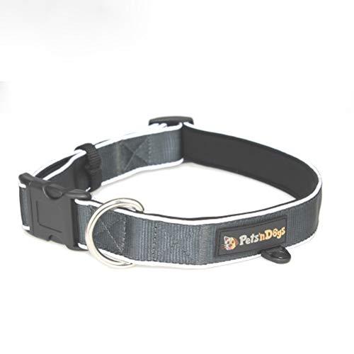 Pets\'nDogs Premium Hunde-Halsband aus hochwertigem Nylon mit softem Neopren-Futter   3M-Reflektoren für perfekte Sichtbarkeit   (Größe L) stufenlos einstellbar   + 2 Gratis-Booklets